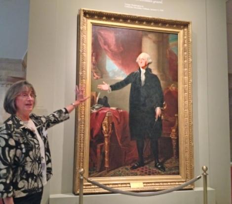 A docent at Washington D.C.'s Portrait Gallery